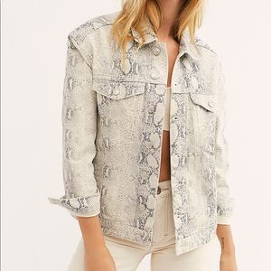 Free People Snake Trucker Jacket Relaxed Fit